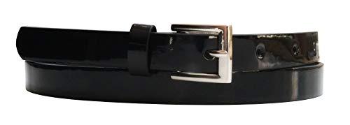 EANAGO Cinturón de piel sintética vegana para mujer, varios diseños y longitudes Negro estrecho...
