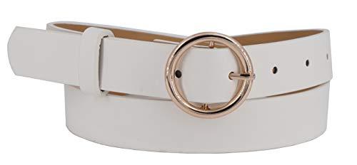 EANAGO - Cinturón clásico para mujer de piel sintética con hebilla dorada, color blanco Ancho:...