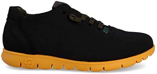 Slowwalk Zapato Hombre Cordones Morvi Tricot Black Suela Ocre (46)