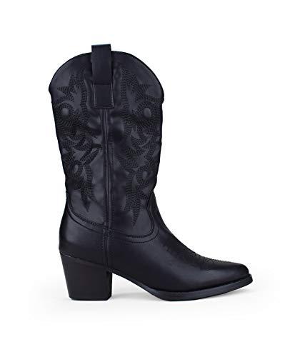 BOSANOVA Bota campera Negra Estilo Cowboy con tacón para Mujer | Detalle de Cosido Decorativo en la...