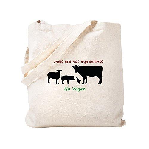 CafePress Animales no son ingredientes: Go Vegano Bolsa de lona natural, bolsa de compras...