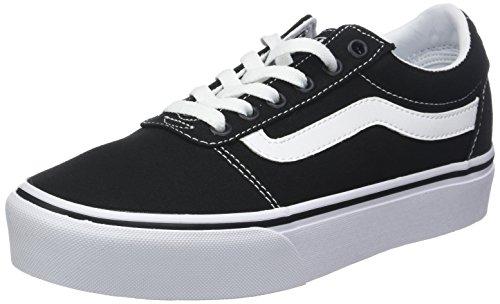 Vans Ward Platform Canvas Zapatillas Mujer, Negro (Canvas) Black/White 187), 39 EU (6 UK)