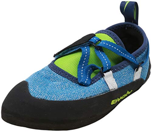 Evolv Venga - Zapatilla de escalada para niños, color azul y lima neón 1