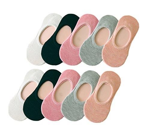 Tuopuda® 10 Pares Calcetines Invisibles Mujer De Algodón Calcetines Cortos Elástco Con Silicona...
