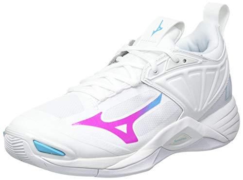 Mizuno Wave Momentum 2, Zapatillas de vleibol Mujer, Blueatoll Blanco Pinkglo, 41 EU