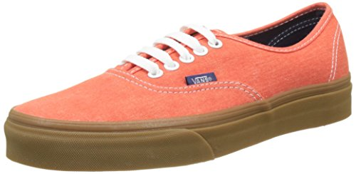 Vans UA Authentic, Zapatillas Hombre, Naranja (Washed Canvas Cherry Tomato/Gum), 40.5 EU