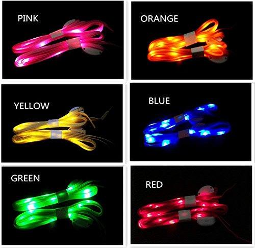 Cordones LED de 6 pares – Cordones de nailon suave de alta visibilidad con 3 modos en 6 colores...