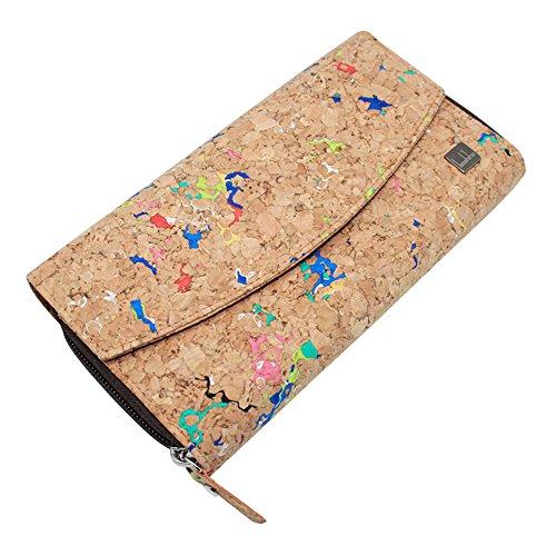 Monedero de corcho con bolso vegano, monedero de Boshiho Cartera de gran capacidad para teléfono...