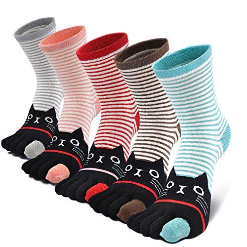 Mujer cinco calcetines de los dedos, Algod¨®n Calcetines de Animales Lindos para Mujer Calcetines...
