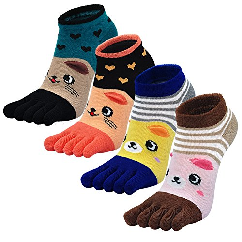 PUTUO Mujer cinco calcetines de los dedos, Algodón Calcetines de Animales Lindos para Mujer...